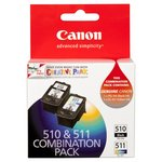 Canon 510 511 Genuine Ink Cartridge Combo Pack
